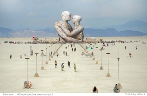 Embrace, a sketch by Killbuck for the Burningman Temple 2014